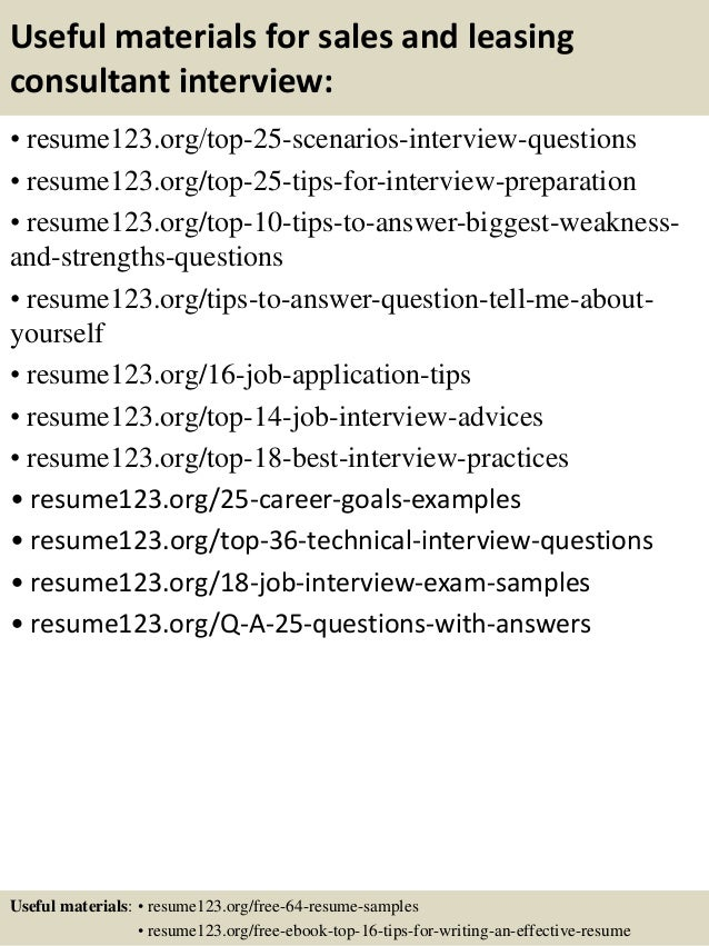 13 useful materials for sales and leasing consultant - Leasing Consultant Resume Sample
