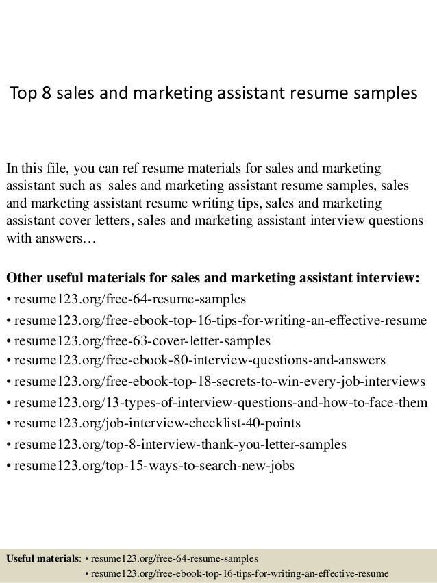 top 8 sales and marketing assistant resume samples