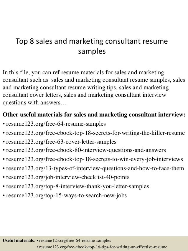 Charming Top 8 Sales And Marketing Consultant Resume Samples In This File, You Can  Ref Resume ... Idea Marketing Consultant Resume