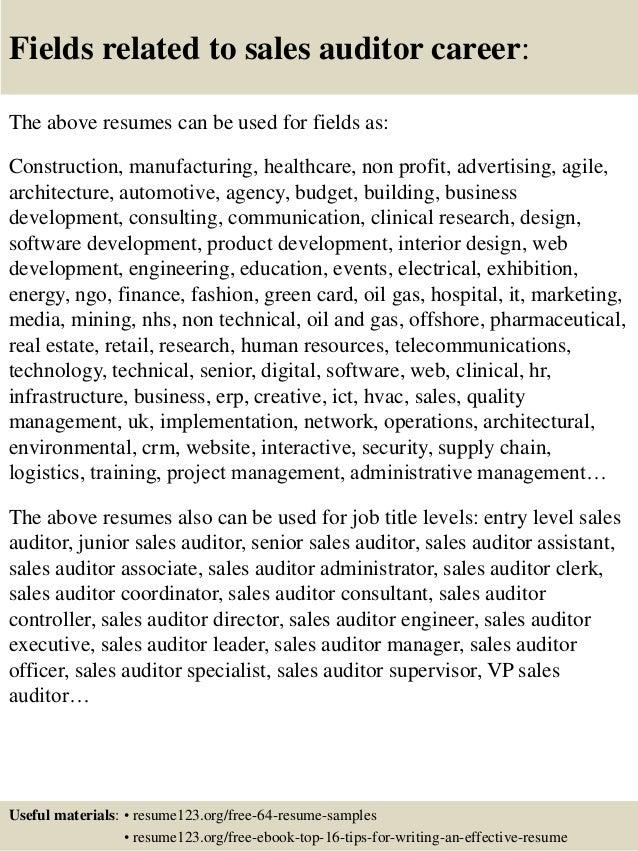 Top 8 sales auditor resume samples
