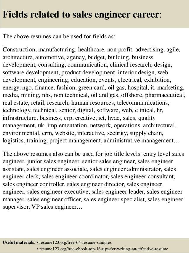 top 8 sales engineer resume sles