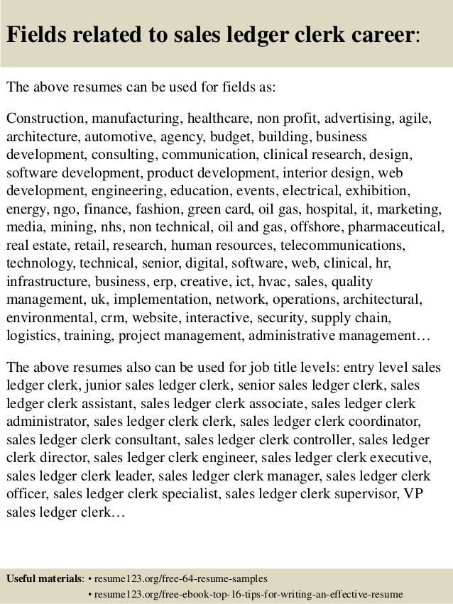 Top 8 sales ledger clerk resume samples 16 fields related to sales ledger clerk yelopaper Choice Image