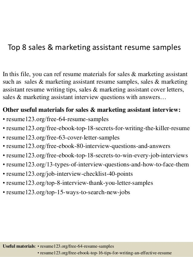 Awesome Top 8 Sales U0026 Marketing Assistant Resume Samples In This File, You Can Ref  Resume ...