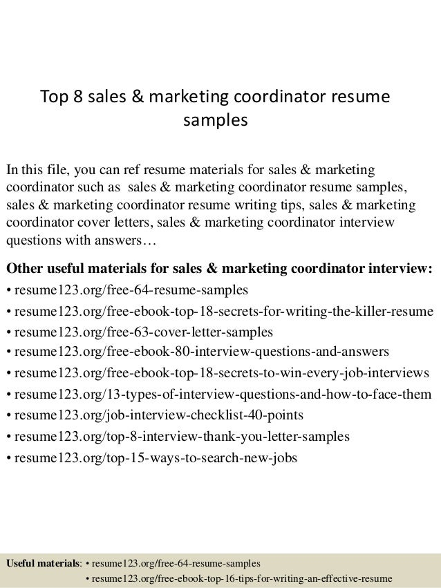 top 8 sales marketing coordinator resume sles