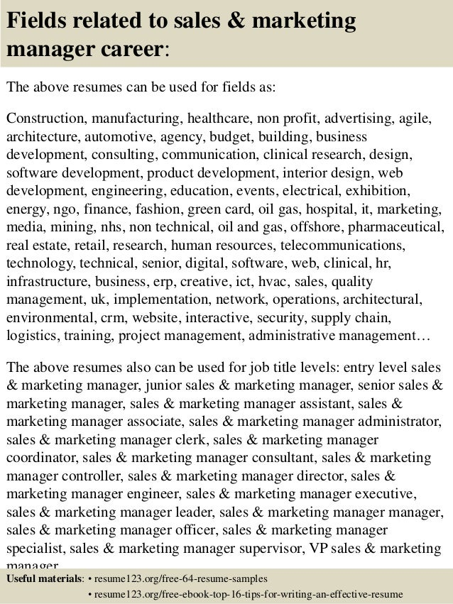 Top 8 sales marketing manager resume samples – Resume Samples for Sales and Marketing