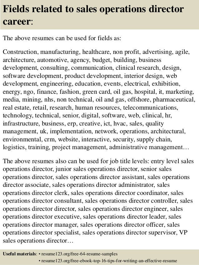 top 8 sales operations director resume samples