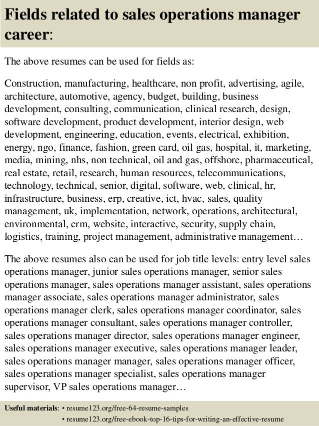 16 fields related to sales operations manager