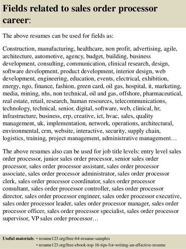 top 8 sales order processor resume samples