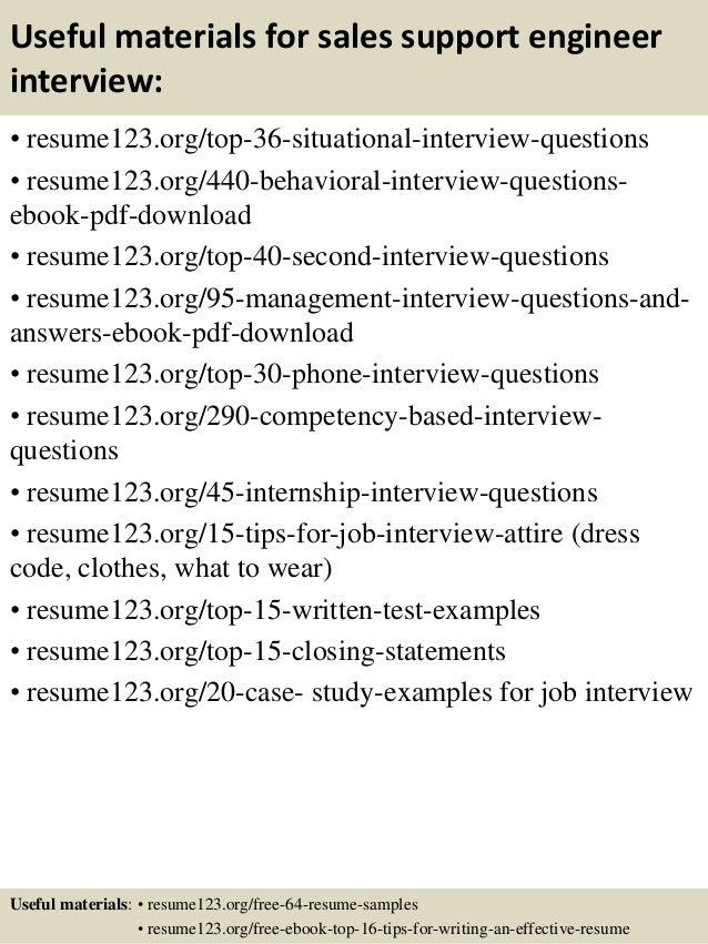 Top 8 sales support engineer resume samples