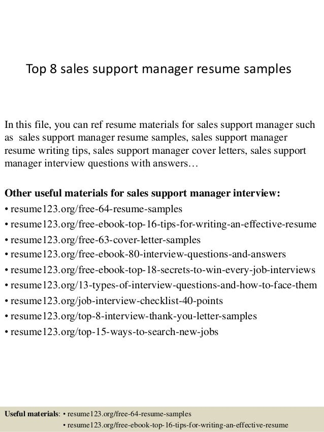 Sales support manager resume