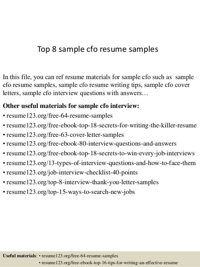 Top 8 Sample Cfo Resume Samples In This File You Can Ref Materials For