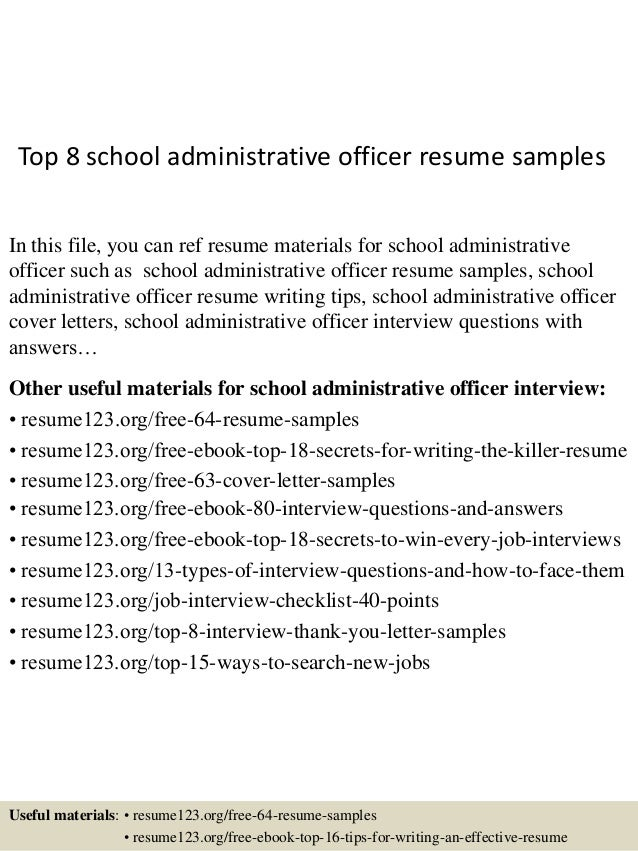 Top 8 School Administrative Officer Resume Samples
