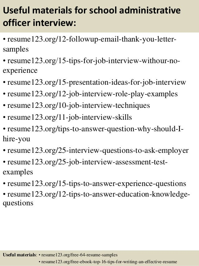 Top 8 school administrative officer resume samples – Sample Resume for School Administrator