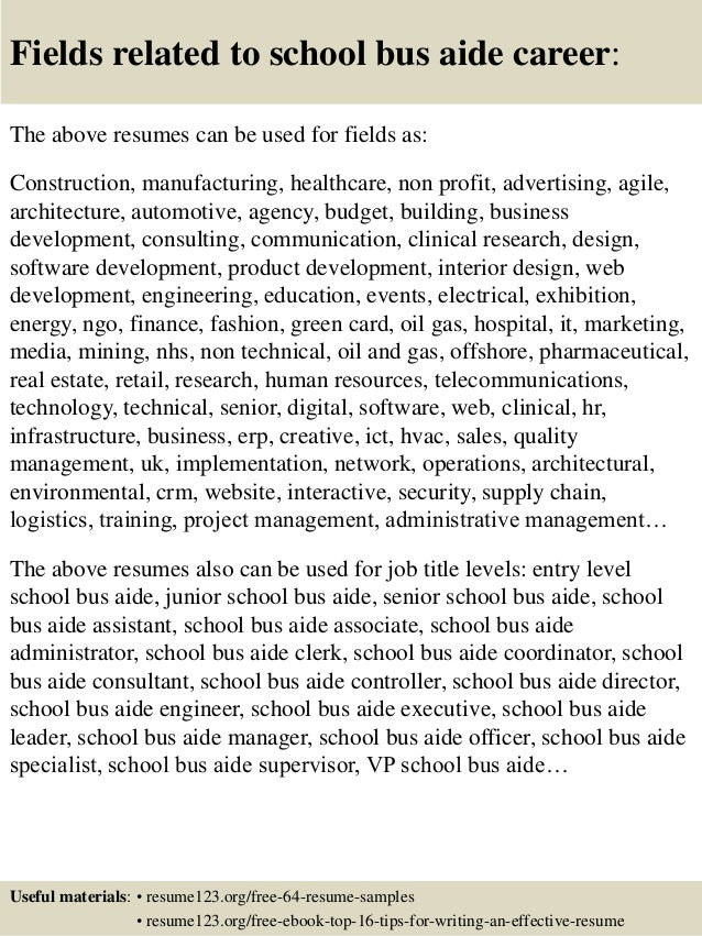 Awesome School Aide Resume . Exceptional ... 16. Fields Related To School Bus Aide .