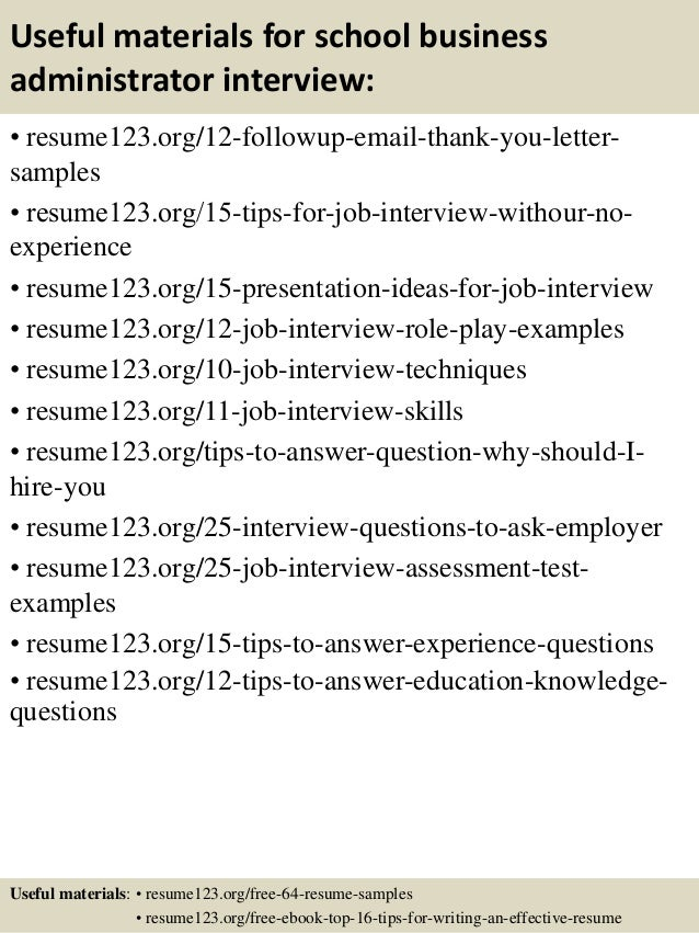 top 8 school business administrator resume samples