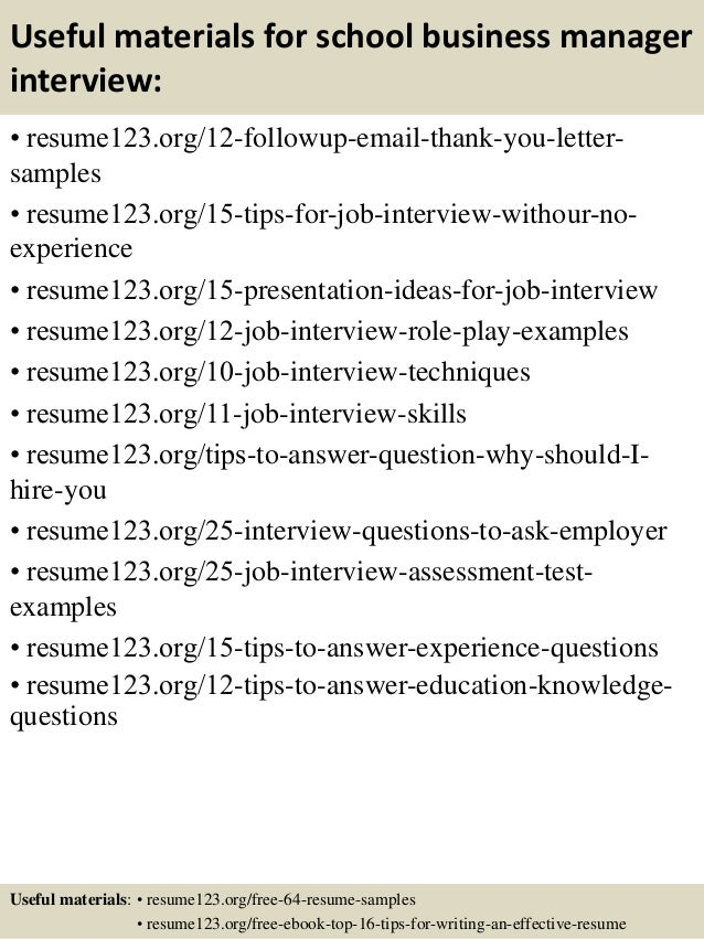 Top 8 school business manager resume samples