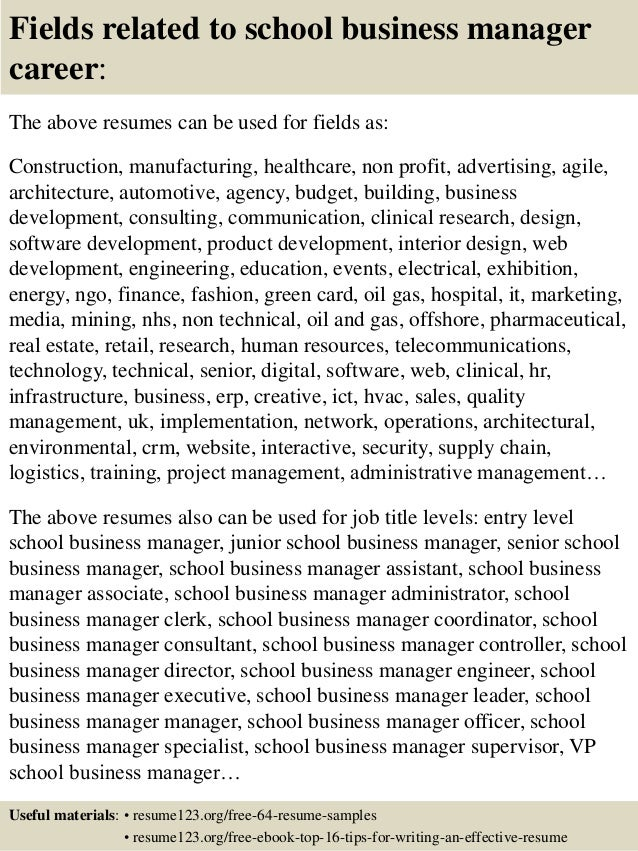 16 fields related to school business manager - Business Manager Resume