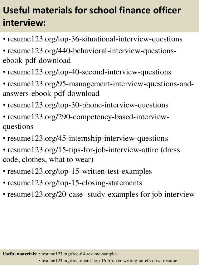 top 8 school finance officer resume samples