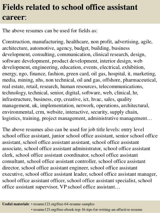 top 8 school office assistant resume samples