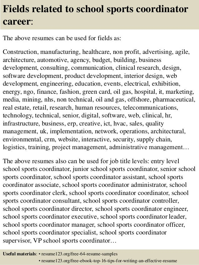 top 8 school sports coordinator resume samples