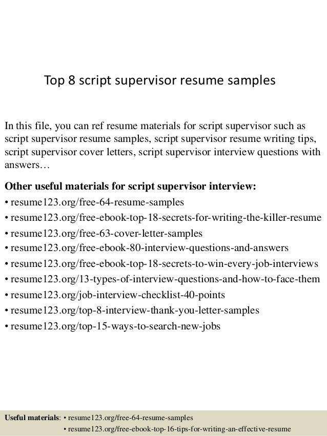 top 8 script supervisor resume samples 1 638 jpg cb 1432518624