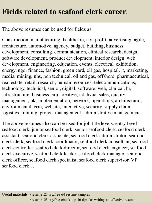 Top 8 Seafood Clerk Resume Samples