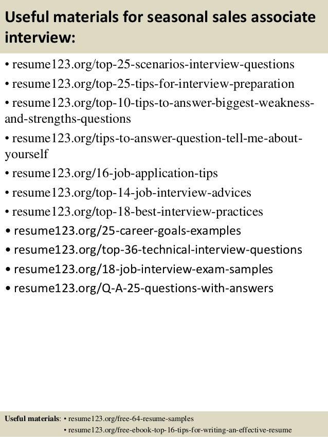 top 8 seasonal sales associate resume samples