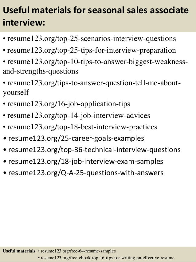 ... 13. Useful Materials For Seasonal Sales Associate ...  Sales Associate Resume Objective