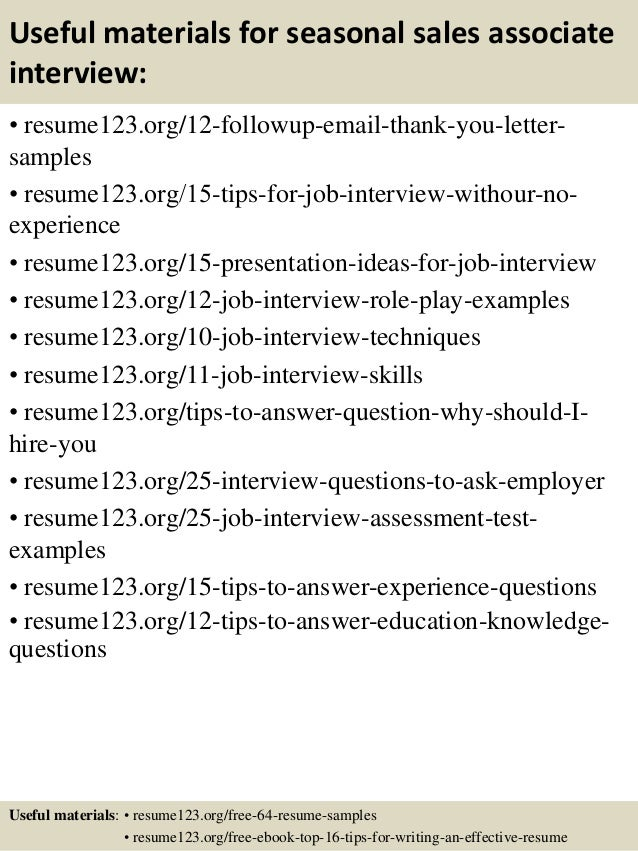 Top  Seasonal Sales Associate Resume Samples