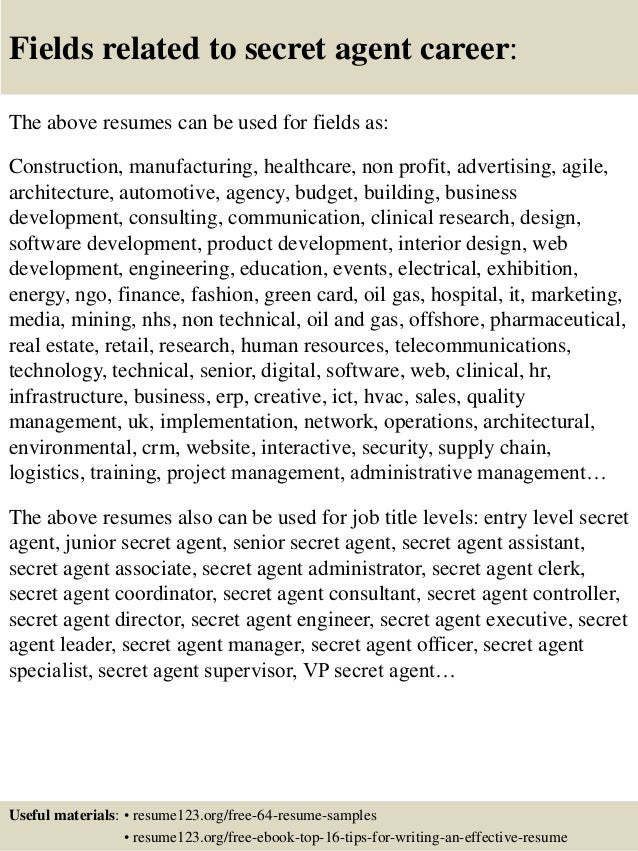 Attractive ... 16. Fields Related To Secret Agent ...