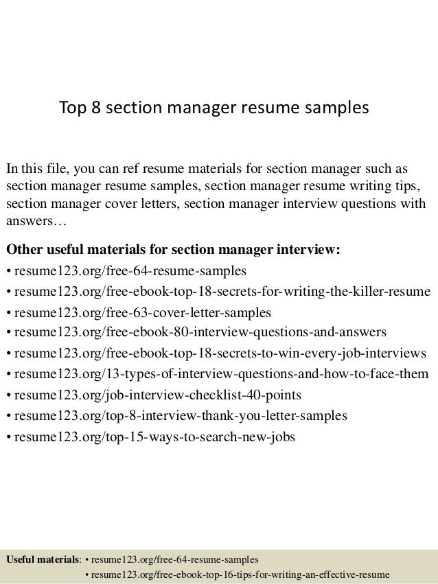 top 8 section manager resume sles