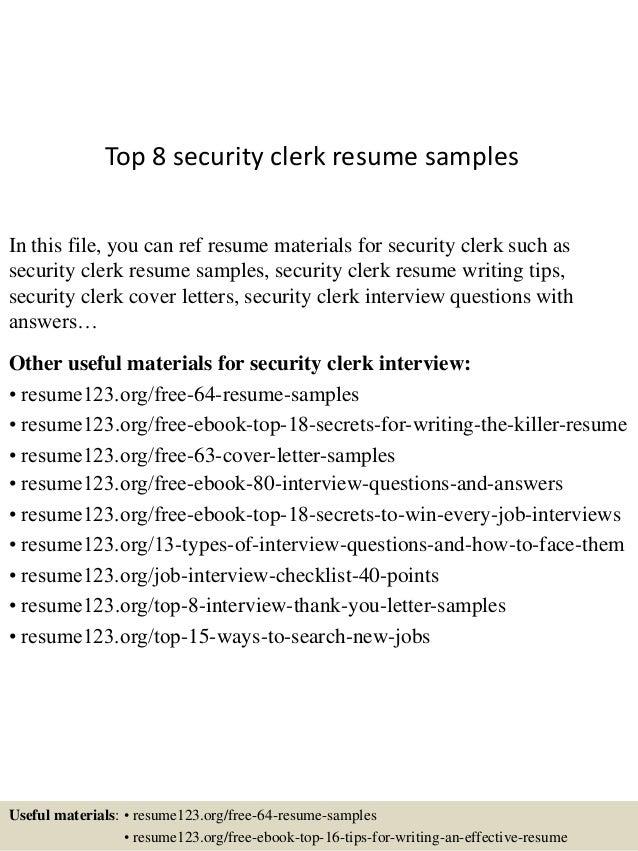 Top 8 security clerk resume samples