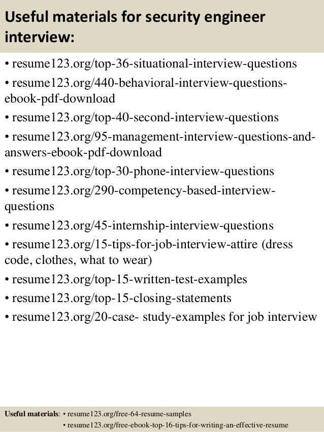 Superb ... 12. Useful Materials For Security Engineer ... Intended For Security Engineer Resume