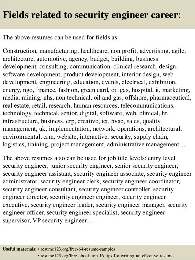 16 fields related to security engineer - Security Engineer Sample Resume
