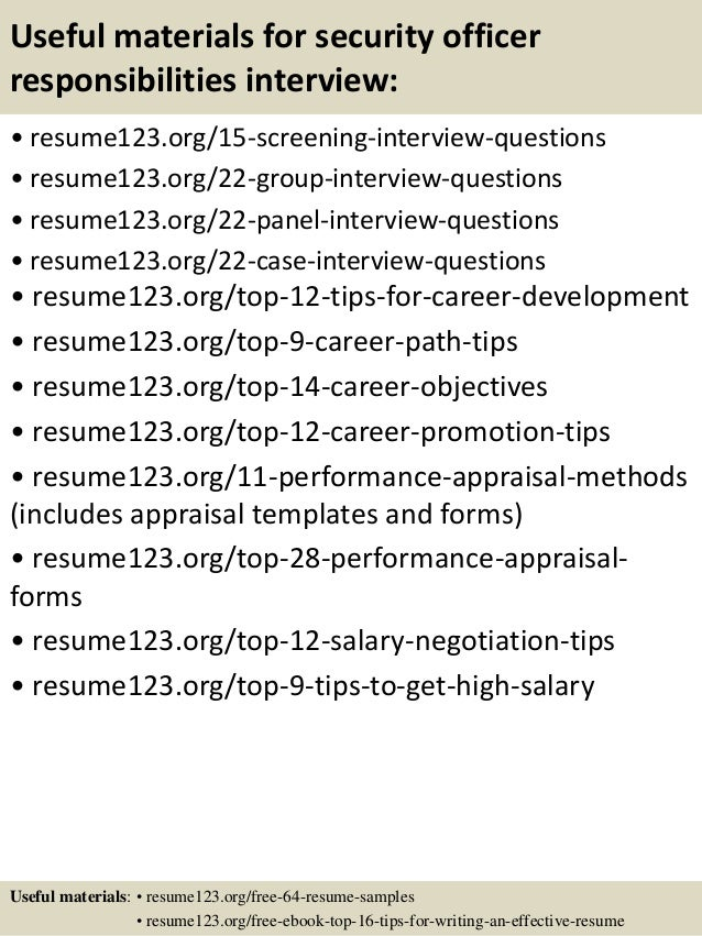 top 8 security officer responsibilities resume samples
