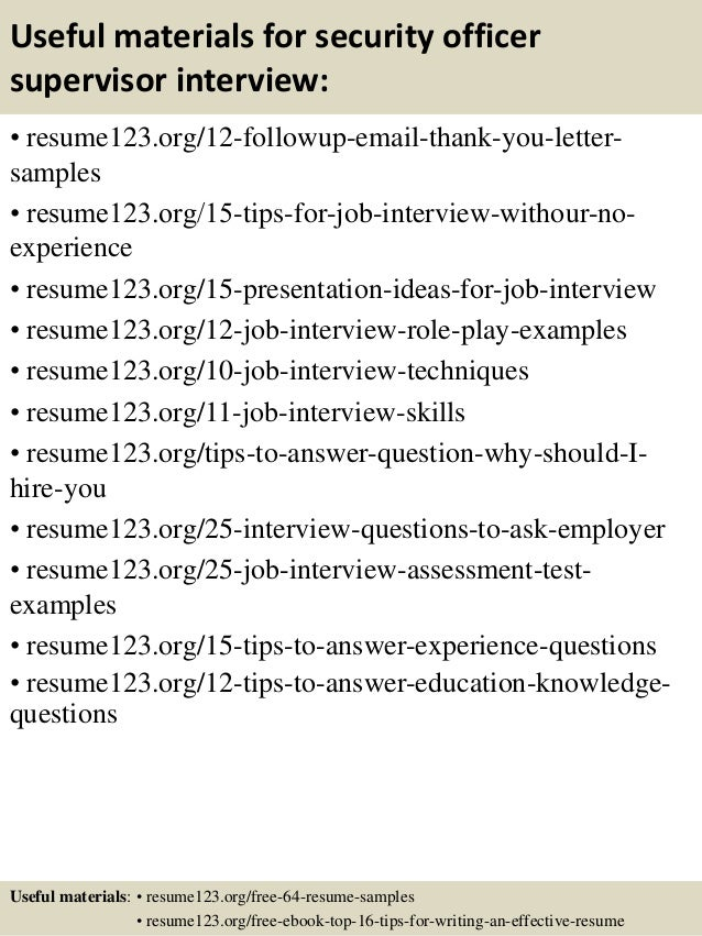 Top  Security Officer Supervisor Resume Samples