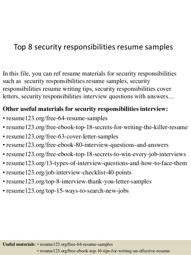 Top 8 Security Responsibilities Resume Samples