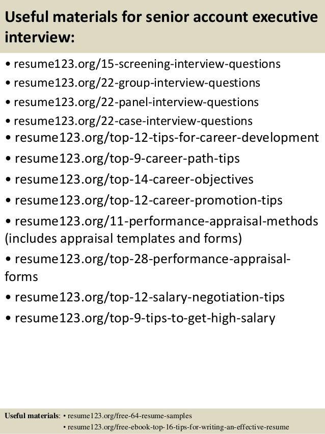15 useful materials for senior account executive - Account Executive Sample Resume
