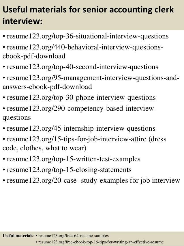 Top 8 senior accounting clerk resume samples