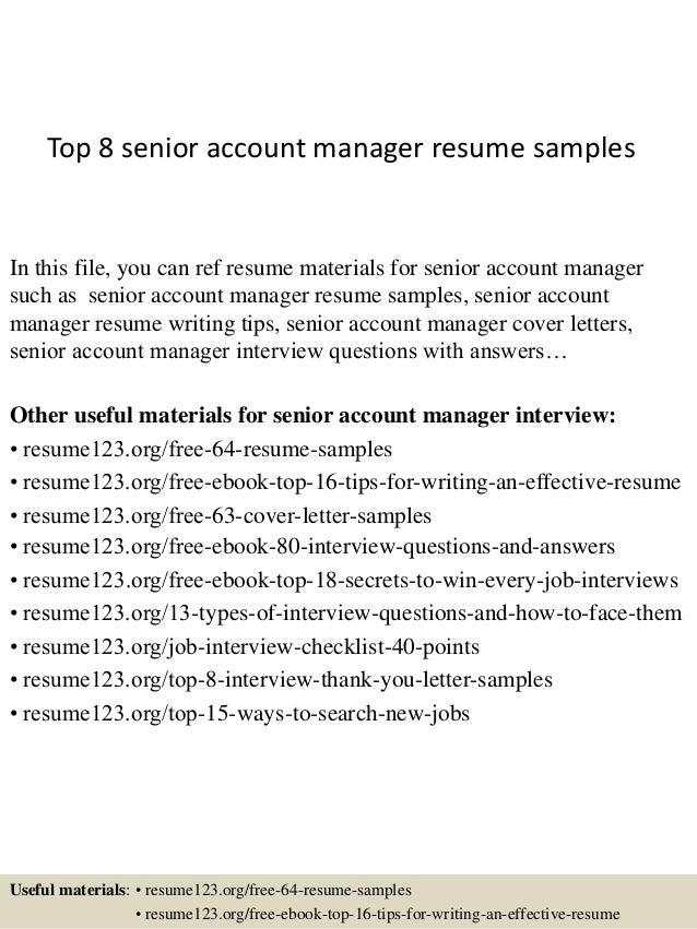 senior account manager resume