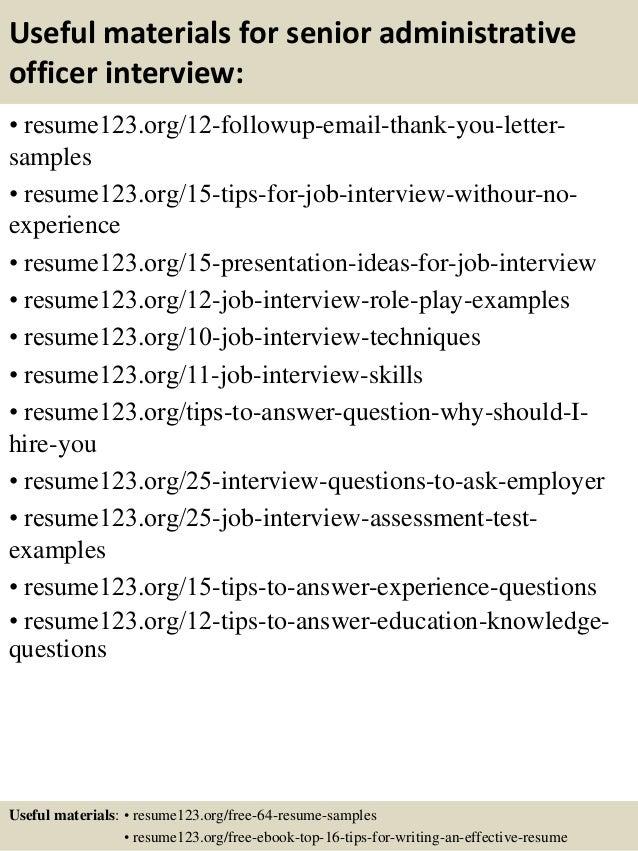 14 useful materials for senior administrative officer - Administrative Officer Resume Template