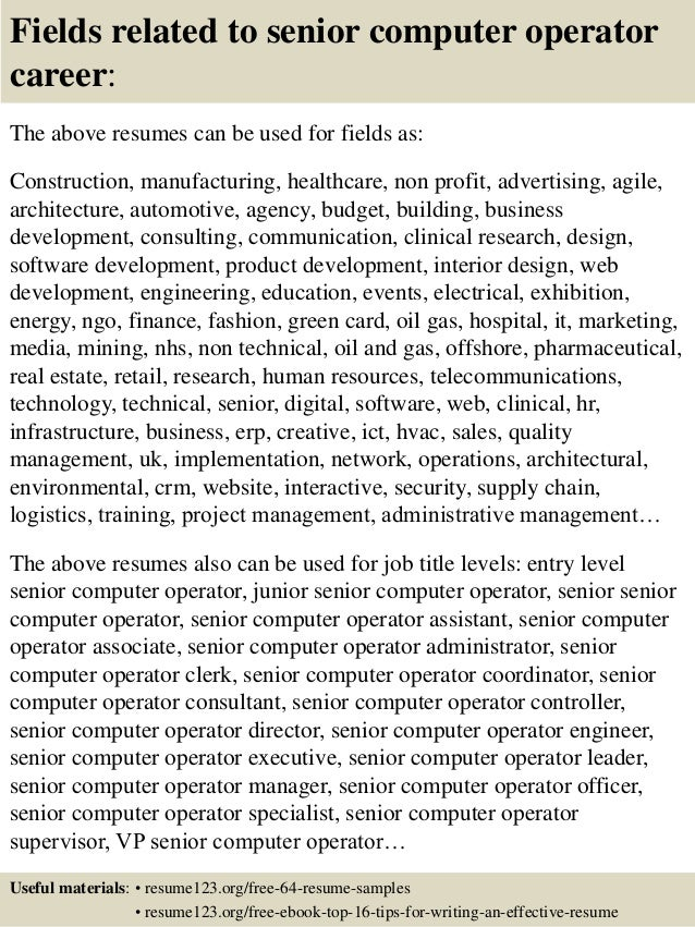 Top 8 senior computer operator resume samples