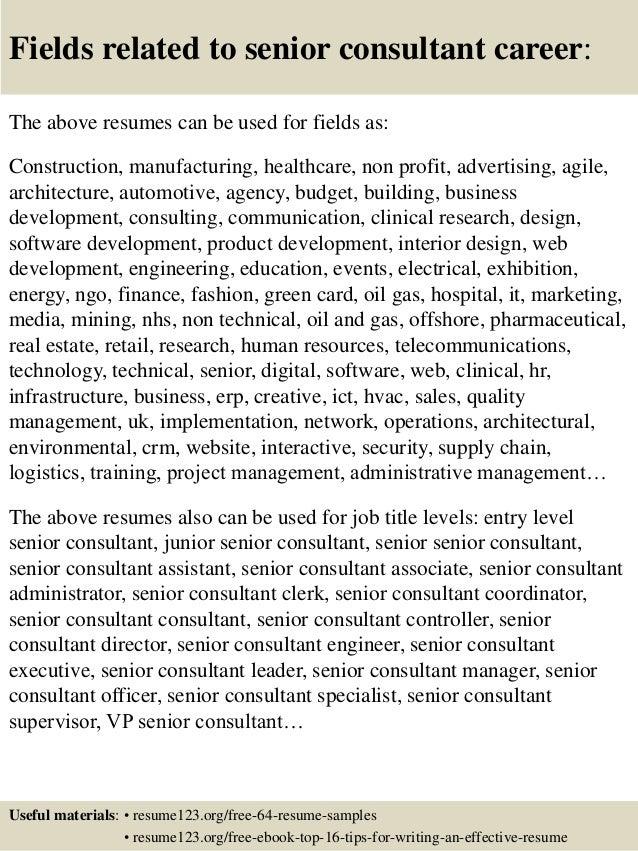 Top 8 senior consultant resume samples – Senior Resume Samples