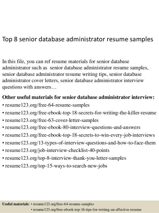 senior database administrator resume