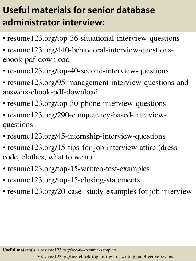 Top  Senior Database Administrator Resume Samples