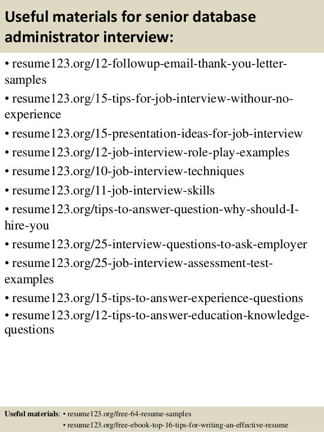 Exceptional Top Senior Database Administrator Resume Samples