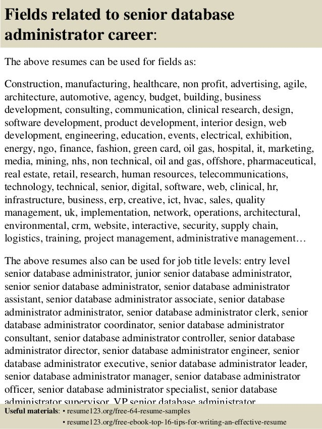 Entry Level Database Administrator Resume. unix admin resume entry ...
