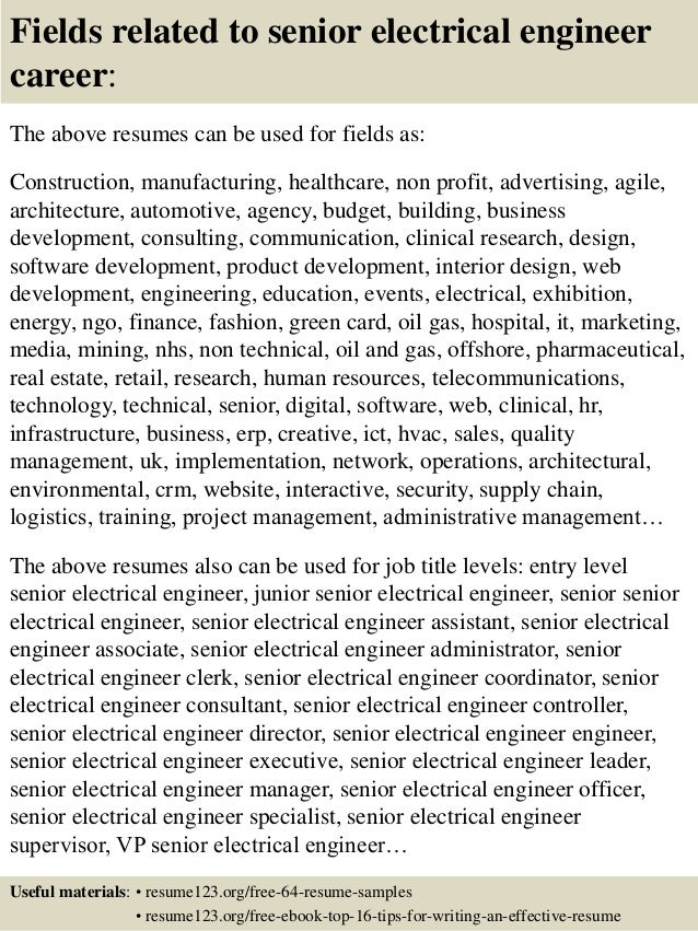 16 fields related to senior electrical engineer - Senior Electrical Engineer Sample Resume