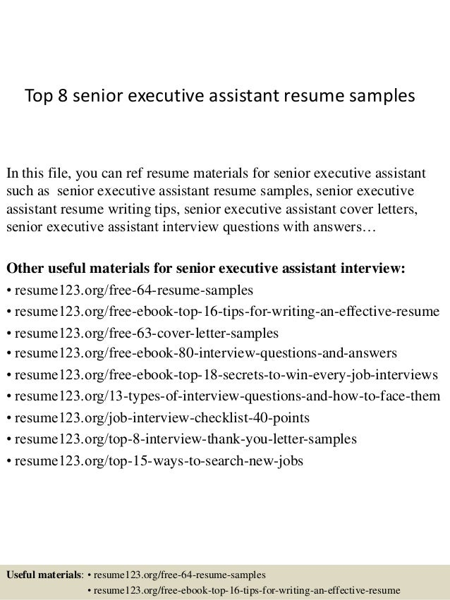 sample resume for executive assistant to senior executive - top 8 senior executive assistant resume samples
