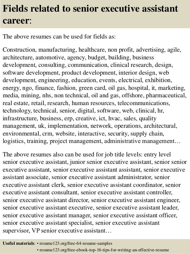 Top  Senior Executive Assistant Resume Samples